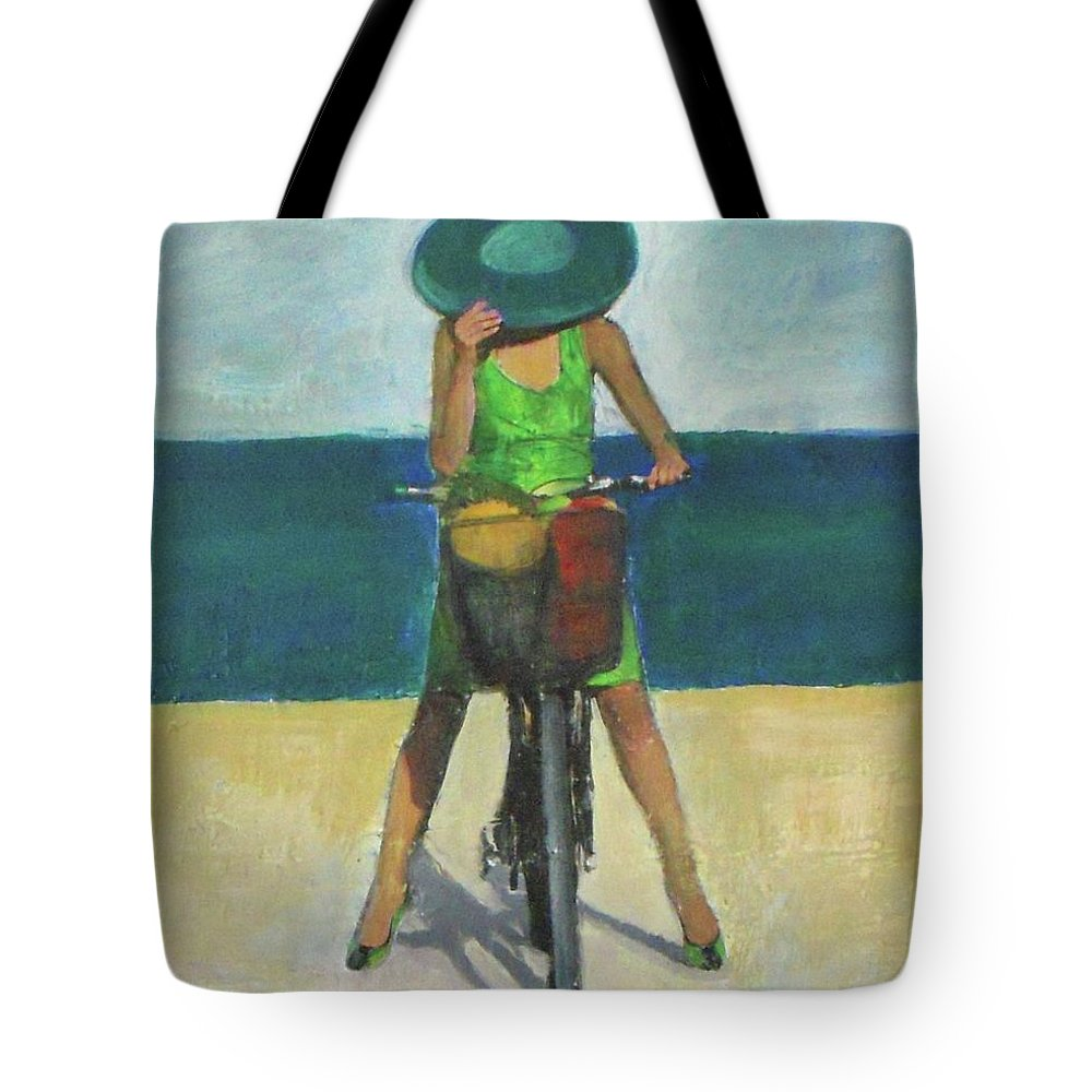 Bicycle Tote Bag featuring the painting With Bike On The Beach by Vesna Antic