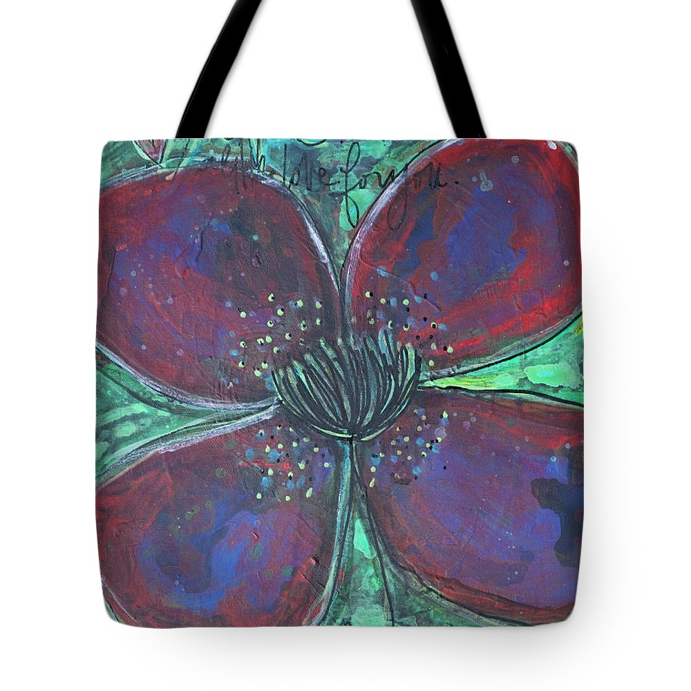 Poppy Tote Bag featuring the painting With Love For You by Laurie Maves ART