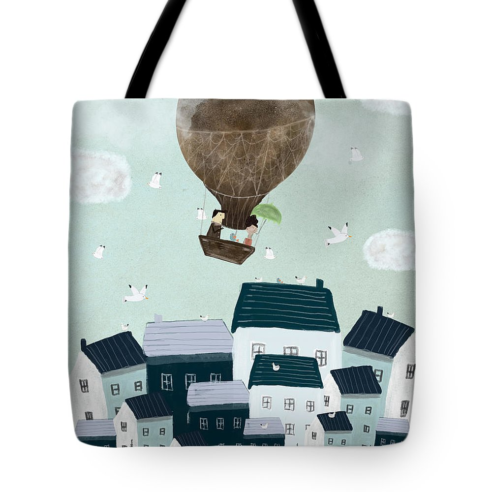 Hot Air Balloons Tote Bag featuring the painting With The Birds by Bri Buckley