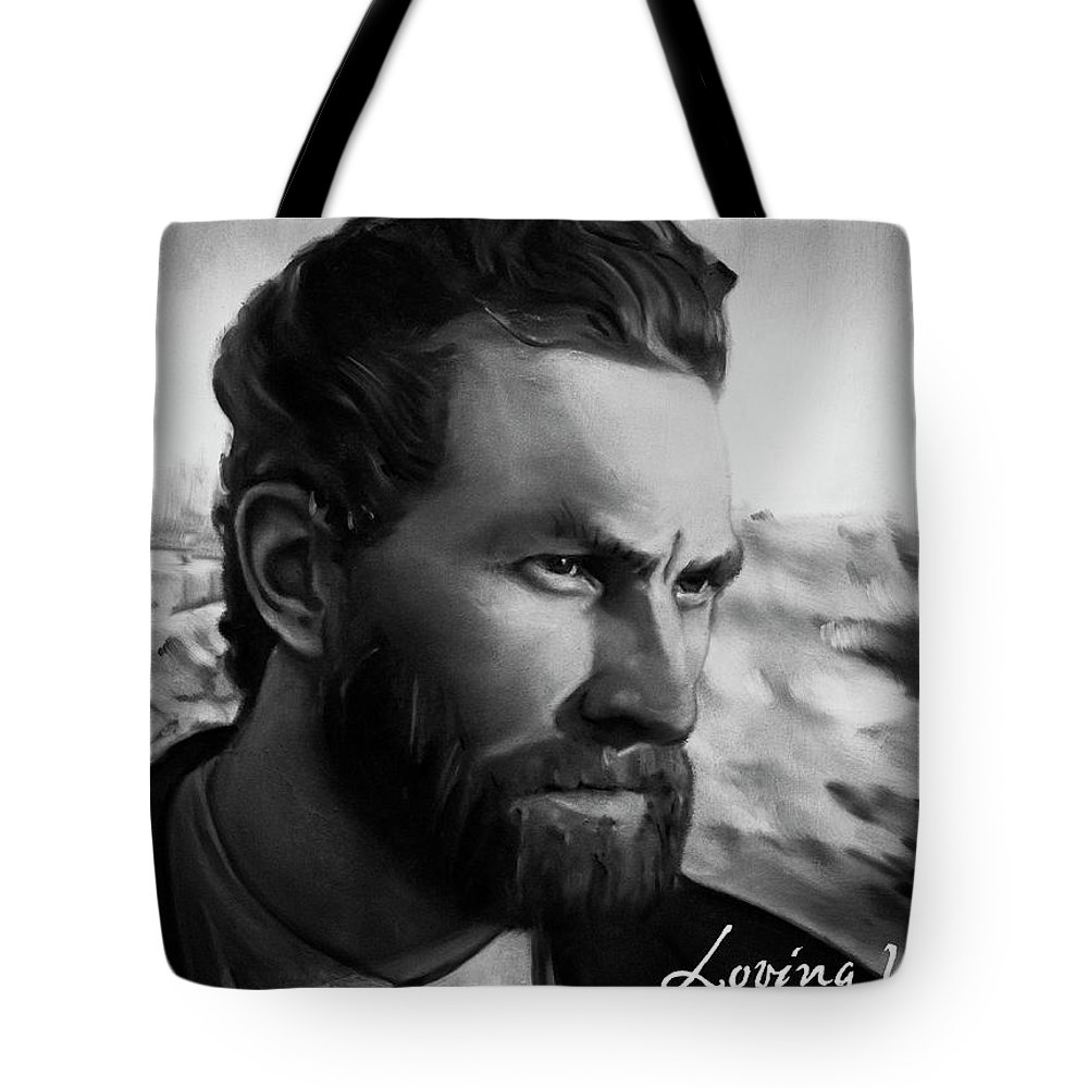 Tote Bag featuring the painting With Theo support - there is no stopping him by Agata Smolska