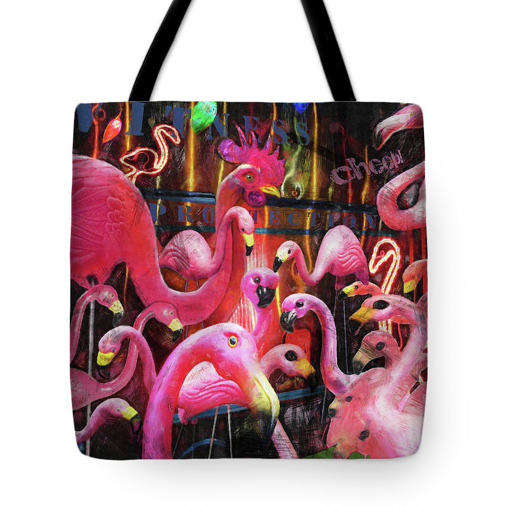 Plastic Flamingos Tote Bag featuring the painting Witness Protection - Cheep by Robert Pratt