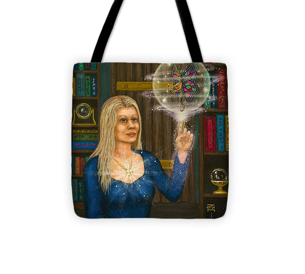 Magic Tote Bag featuring the digital art Wizards Library by Roz Eve