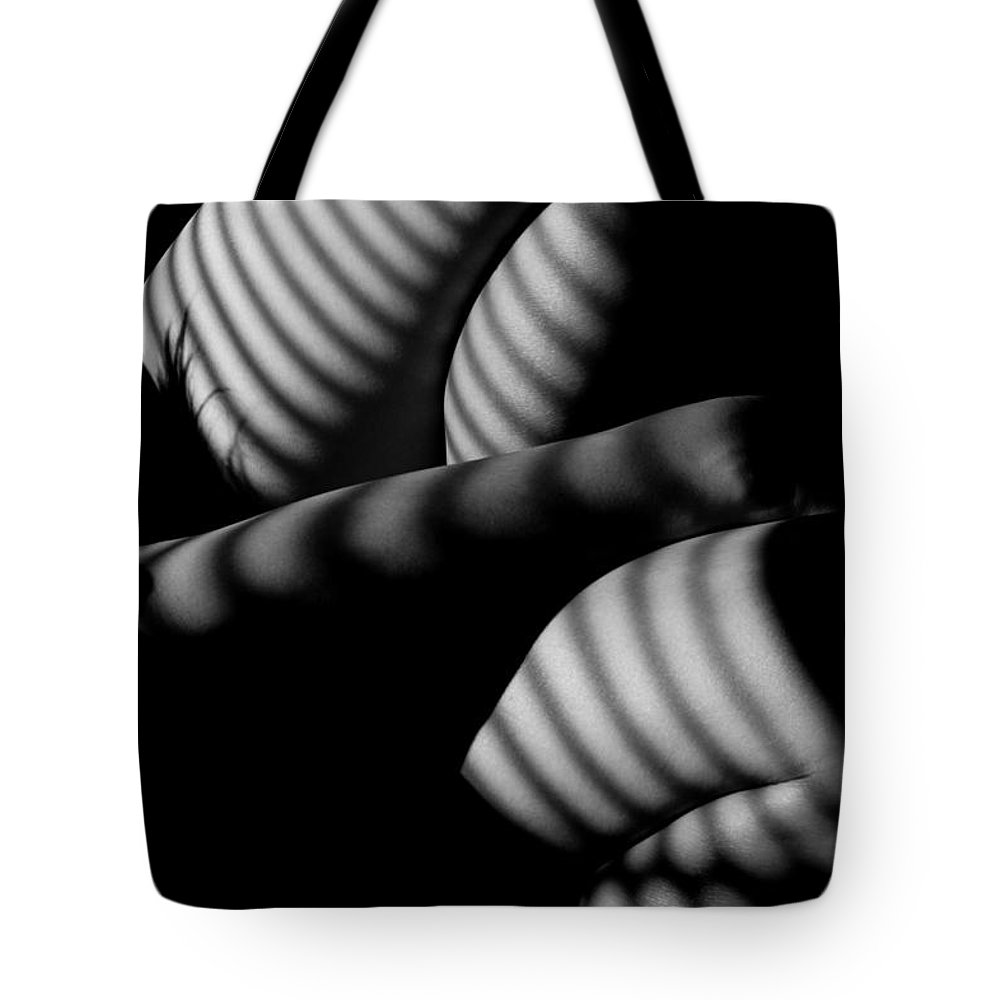 Black And White Tote Bag featuring the photograph wm by Catherine Lau