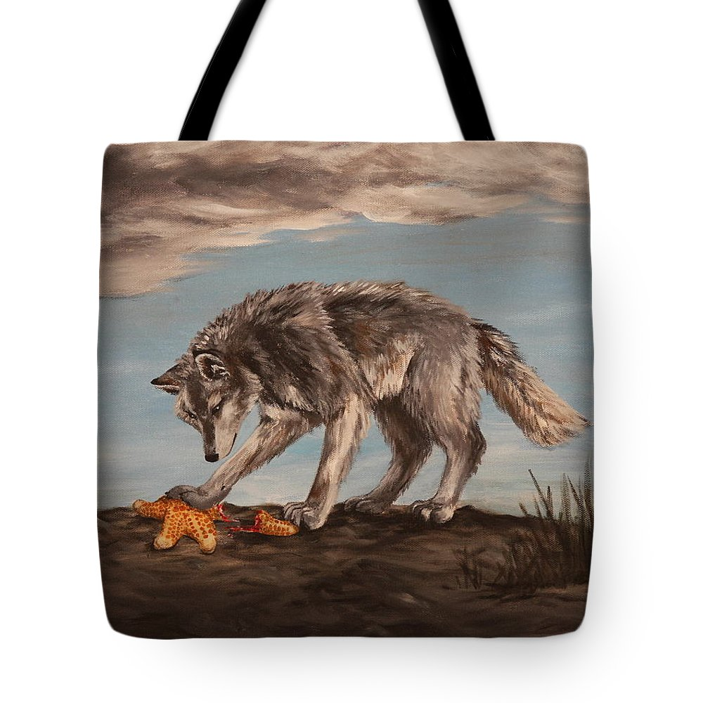 Wolf Tote Bag featuring the painting Wolf And Sea Star by Michelle Miron-Rebbe