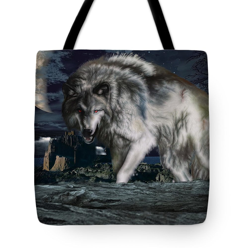 Wolf Tote Bag featuring the photograph Wolf At Night by Edelberto Cabrera