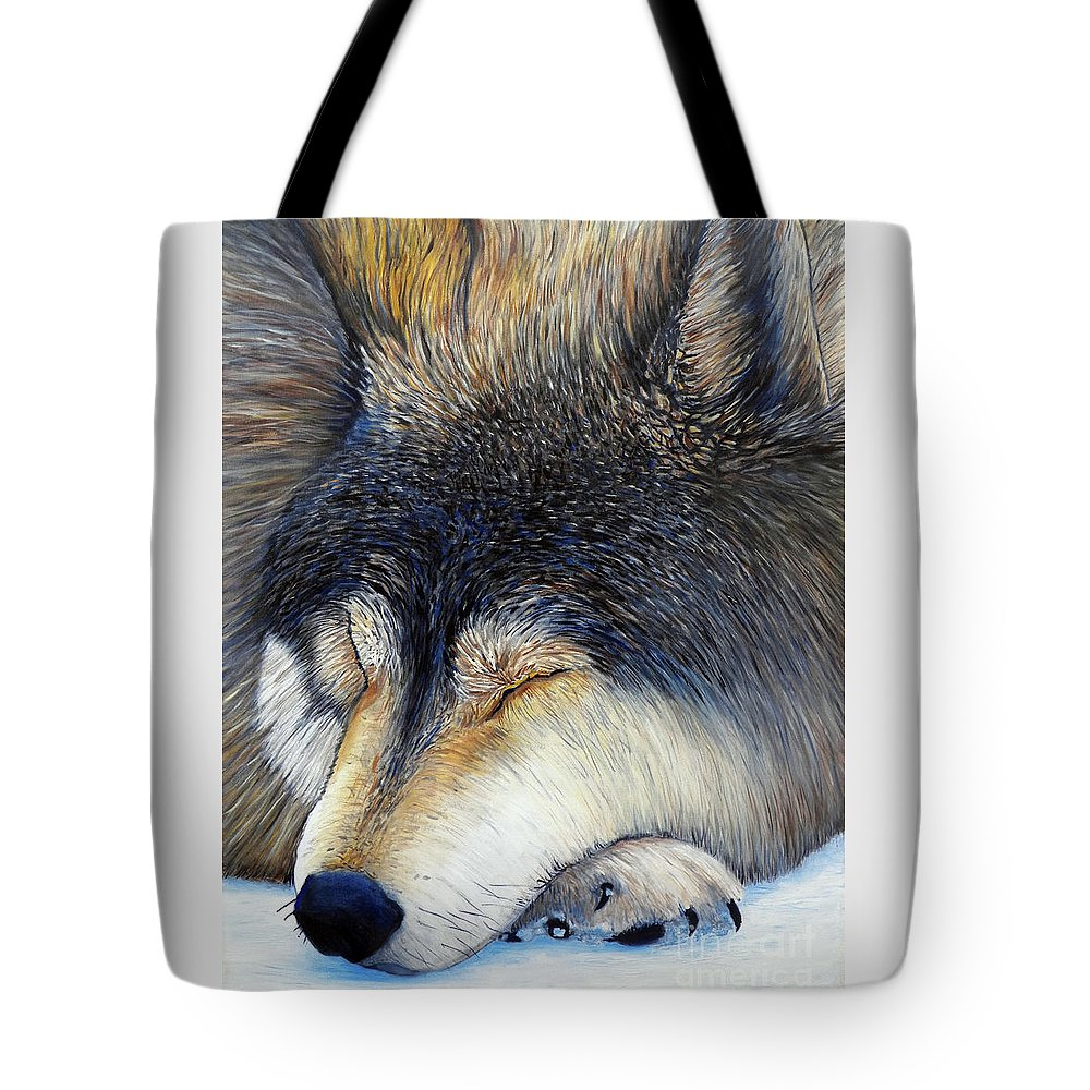 Wolf Tote Bag featuring the painting Wolf Dreams by Brian Commerford