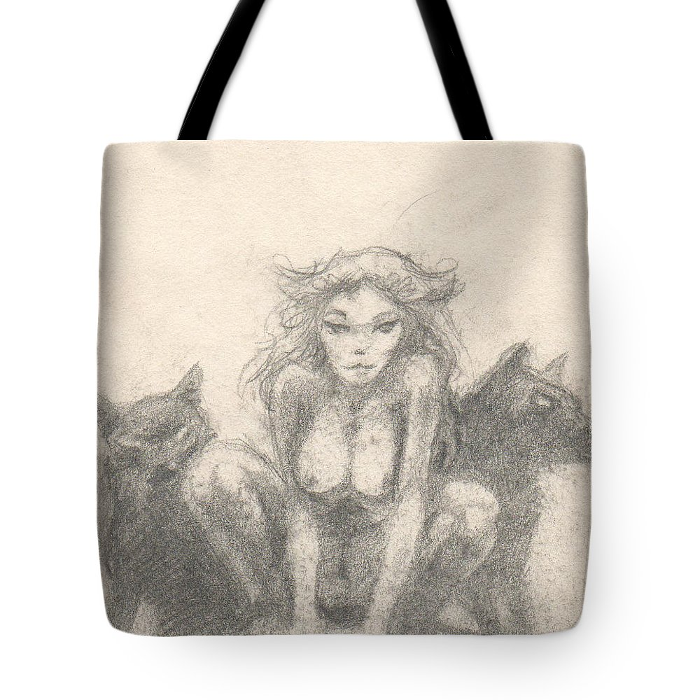 Small Tote Bag featuring the drawing Wolf Girl by T Ezell