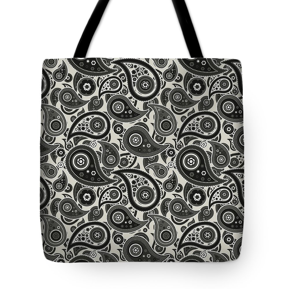Wolf Tote Bag featuring the digital art Wolf Gray Paisley Design by Ross