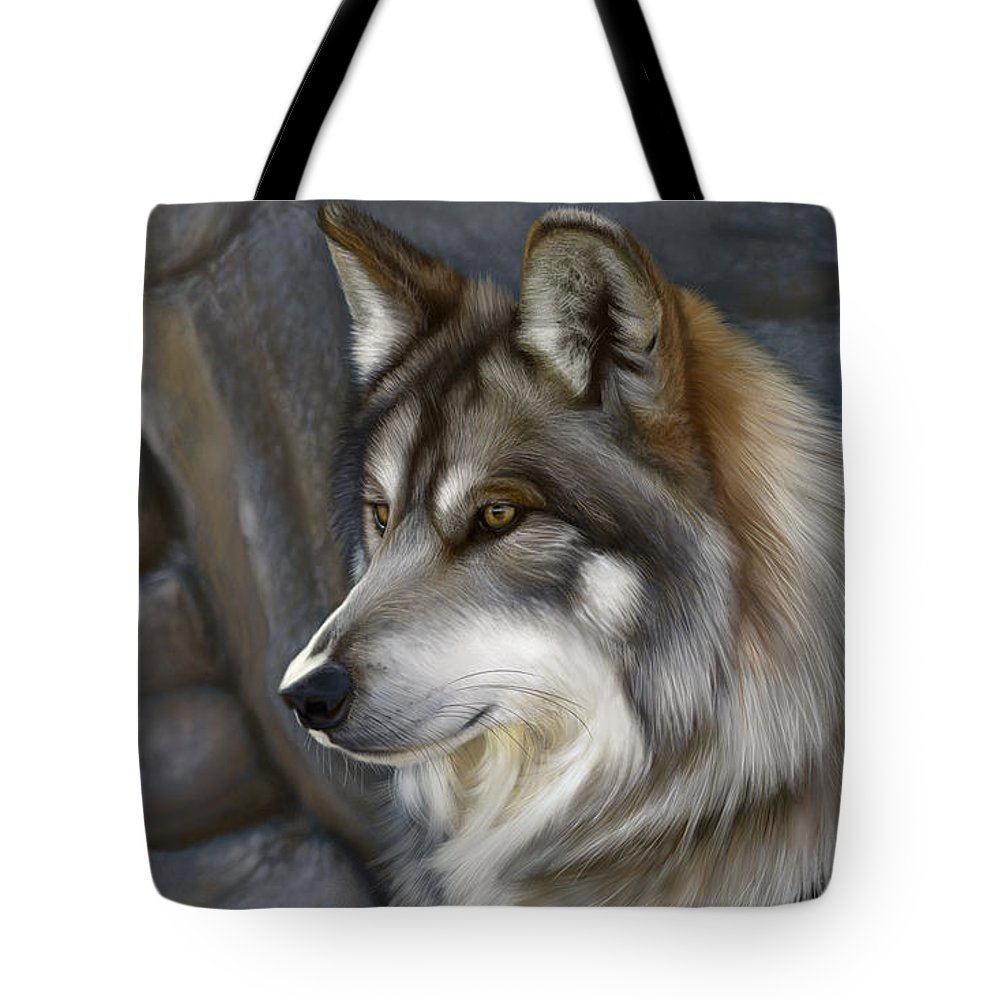 Wolf Tote Bag featuring the digital art Wolf by Gretchen Bartz