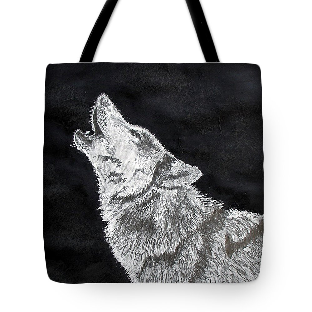 Pencil Tote Bag featuring the drawing Wolf Howl by Stan Hamilton