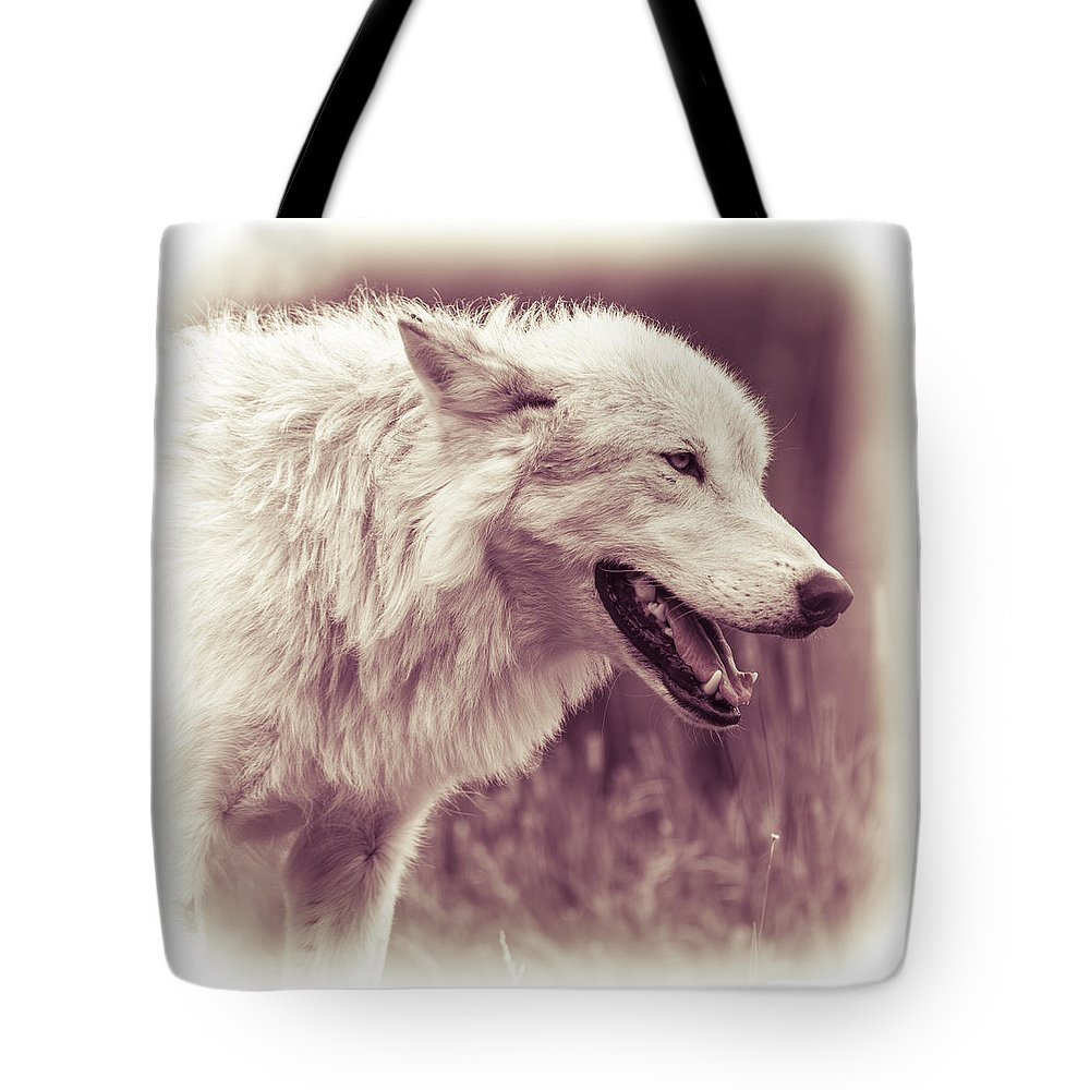 White Wolf Tote Bag featuring the photograph Wolf Of Yellowstone National Park by Yeates Photography