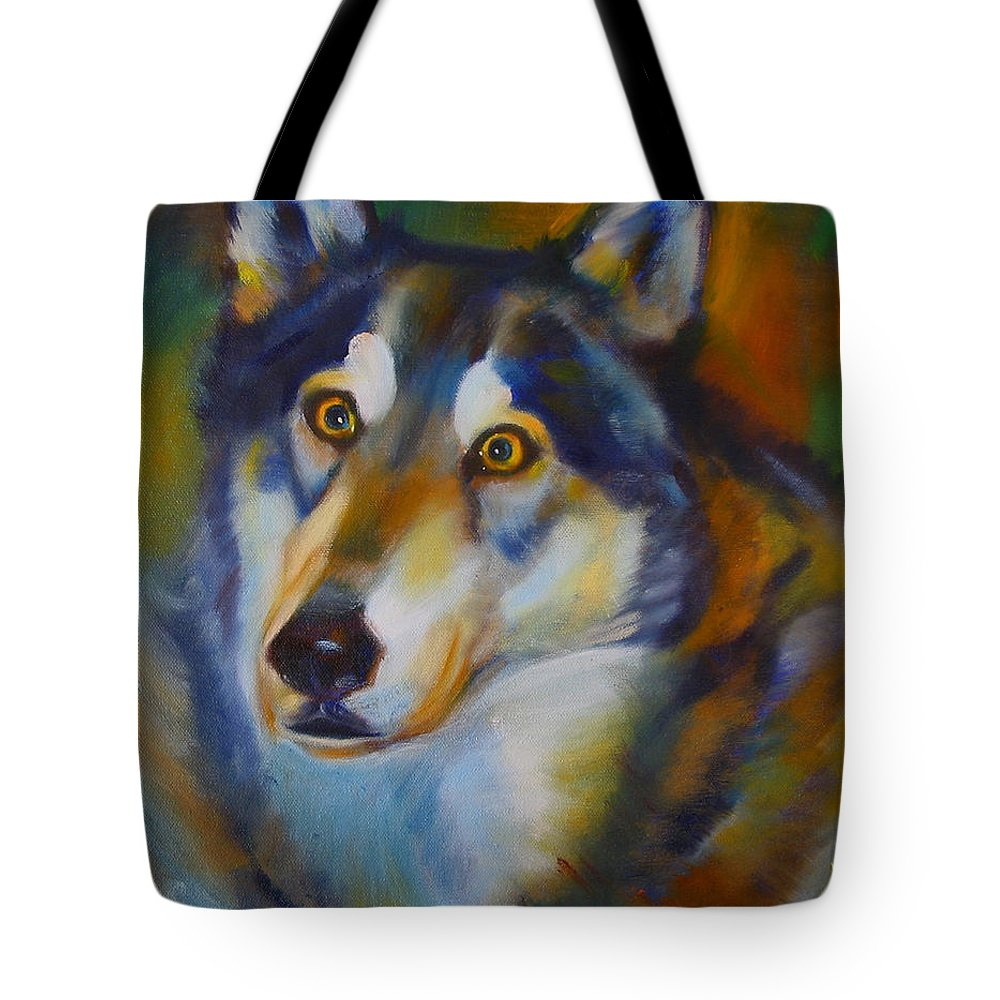 Animal Painting Tote Bag featuring the painting Wolf Spirit by Kaytee Esser