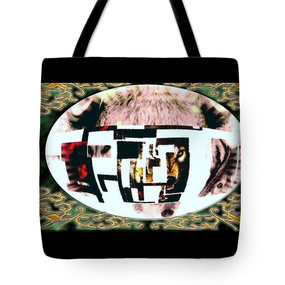 Wolf Tote Bag featuring the mixed media Wolfman by Kim Rahal