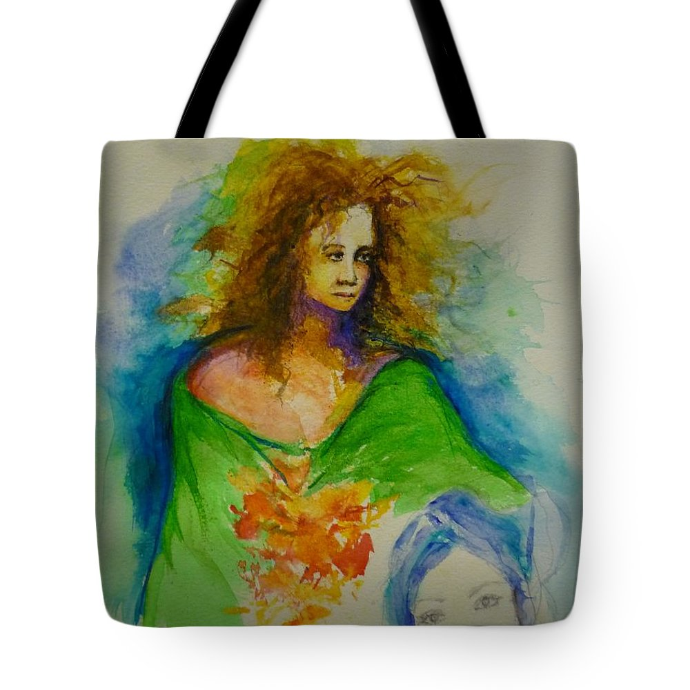 Spiritual Art Tote Bag featuring the painting Woman 1 by Lizzy Forrester