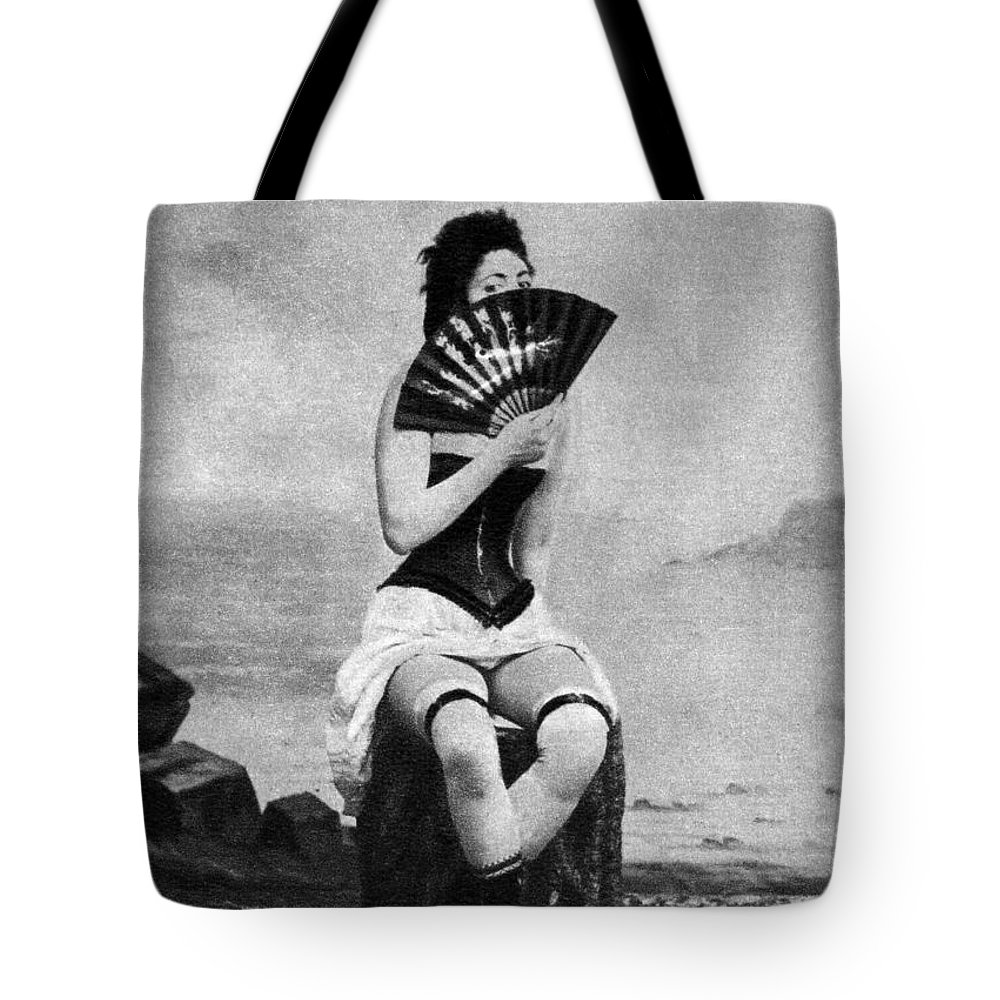 1887 Tote Bag featuring the photograph Woman And Fan, C1887 by Granger