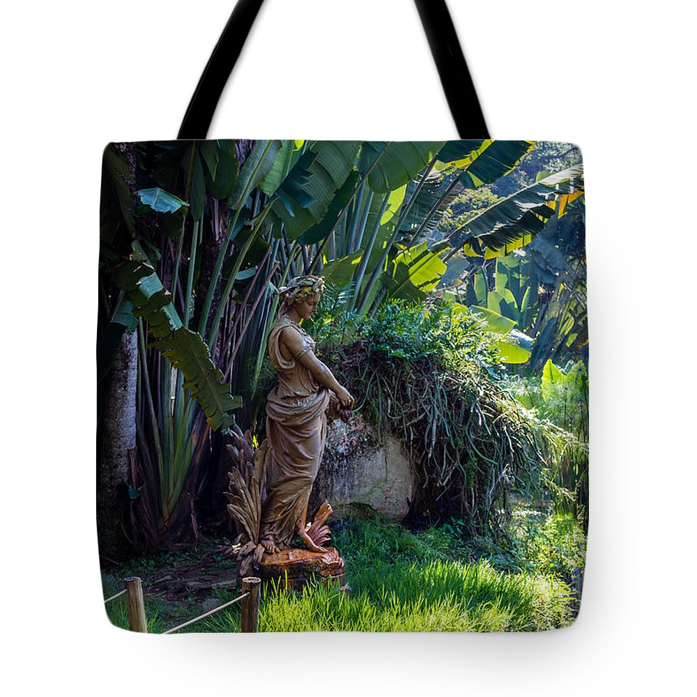 Rio De Janeiro Botanical Garden - Rj Tote Bag featuring the photograph Woman At The Fountain by Victor Fernandes