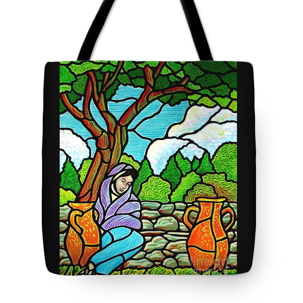 Women Tote Bag featuring the painting Woman At The Well by Jim Harris