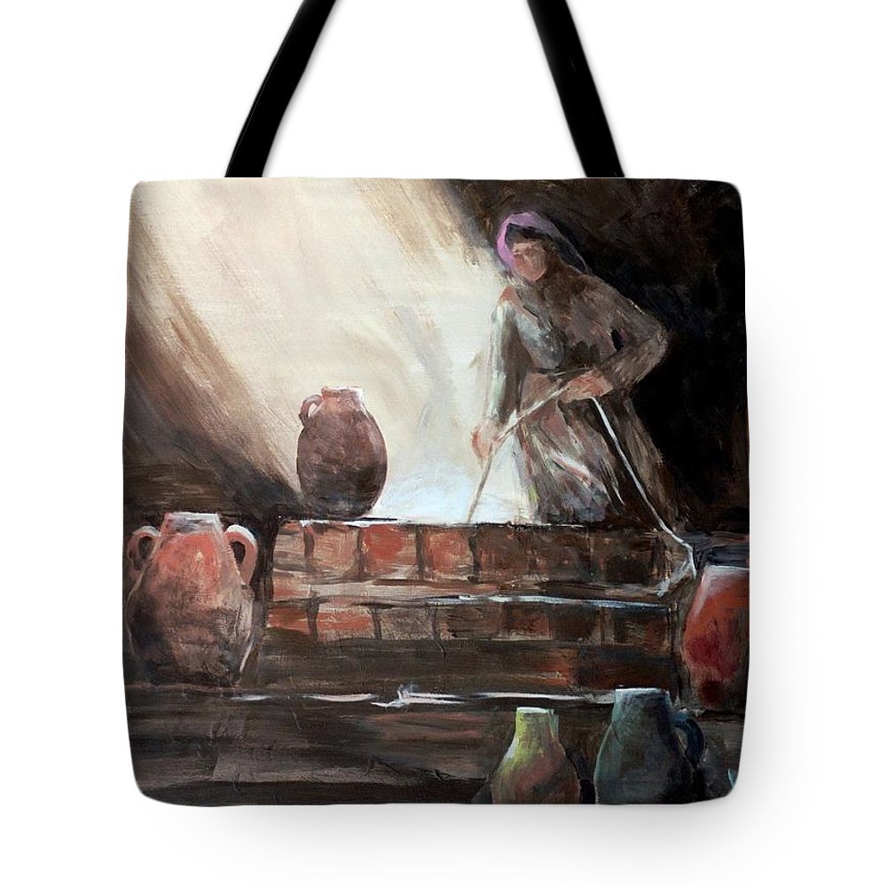 Woman Tote Bag featuring the painting Woman At The Well by Jun Jamosmos