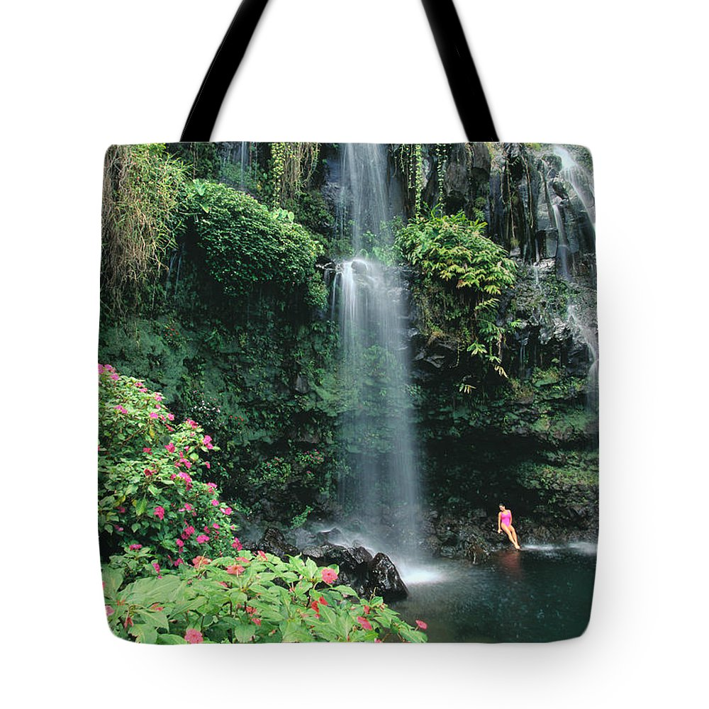 Beneath Tote Bag featuring the photograph Woman Beneath Waterfall by Dana Edmunds - Printscapes