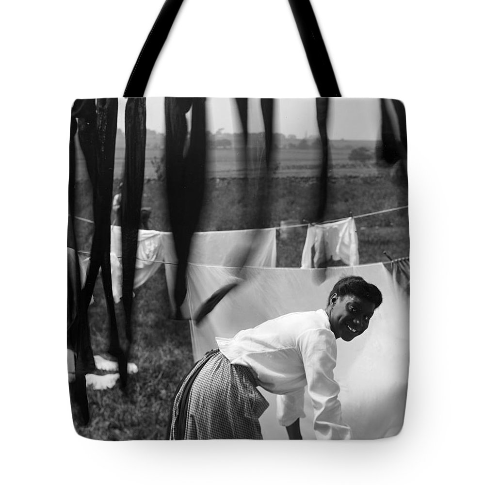1902 Tote Bag featuring the photograph Woman Doing Laundry, C1902 by Granger