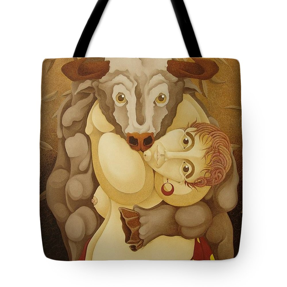 Sacha Tote Bag featuring the painting Woman Embracing Bull 2005 by S A C H A - Circulism Technique