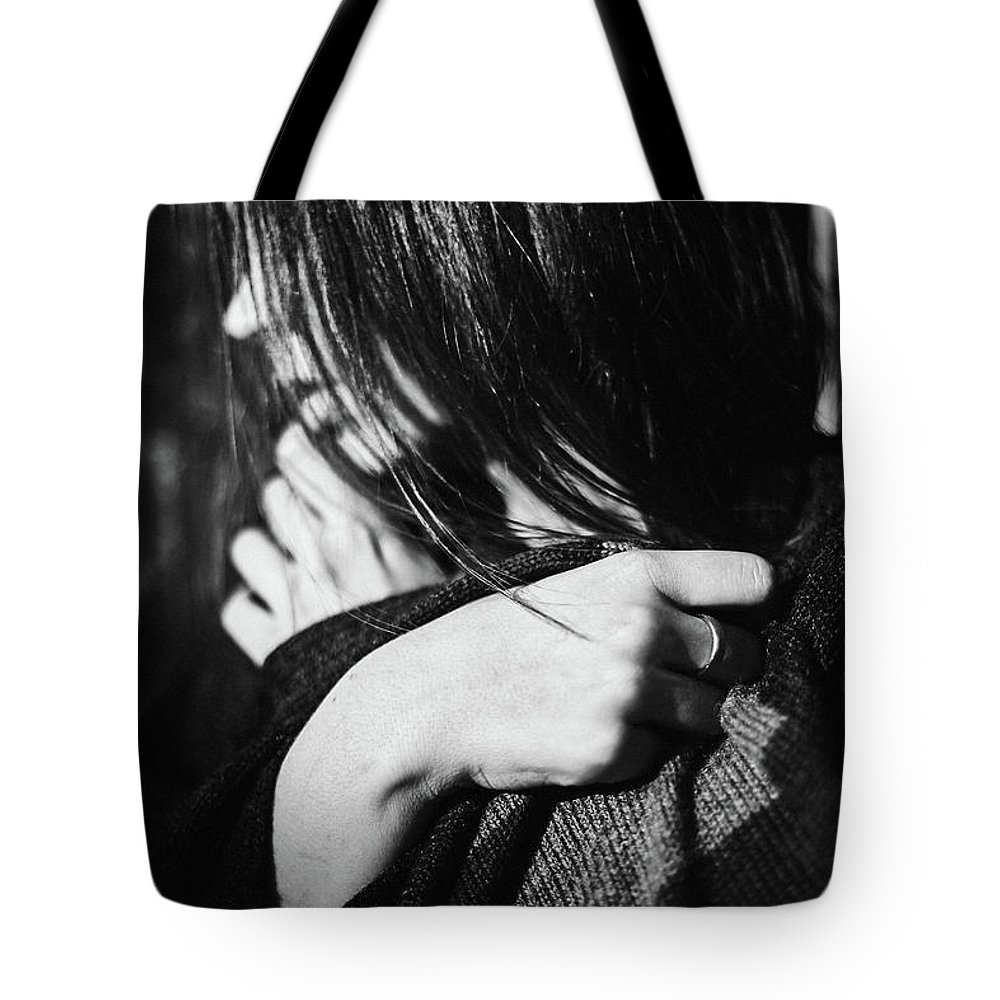Woman Tote Bag featuring the photograph Woman In Alpaca by Elena Rojas Garcia