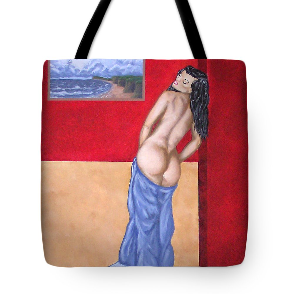 Nude Tote Bag featuring the painting Woman In Blue Robe by Adam Johnson