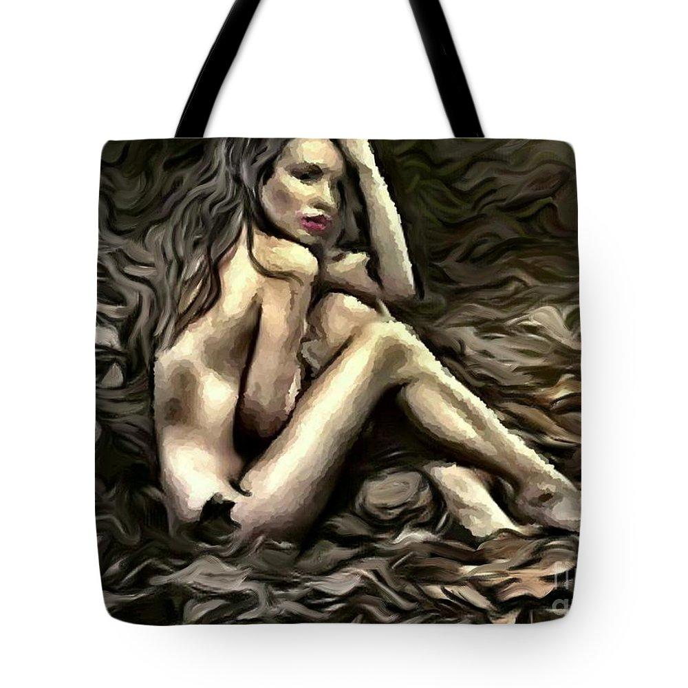 Uzart Tote Bag featuring the digital art Woman In Fall #0074 by Urszula Zogman