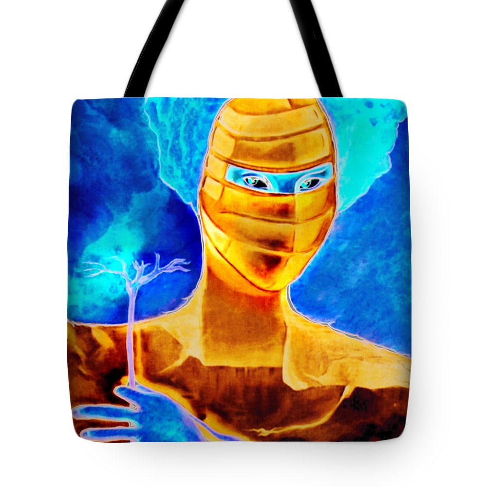 Blue Woman Mask Mistery Eyes Tote Bag featuring the painting Woman In The Blue Mask by Veronica Jackson