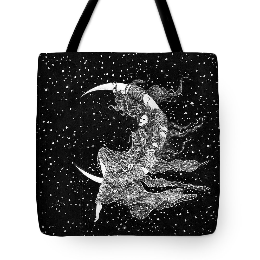 Moon Space Art Stars Bruce Lennon Art Tote Bag featuring the painting Woman In The Moon by Bruce Lennon