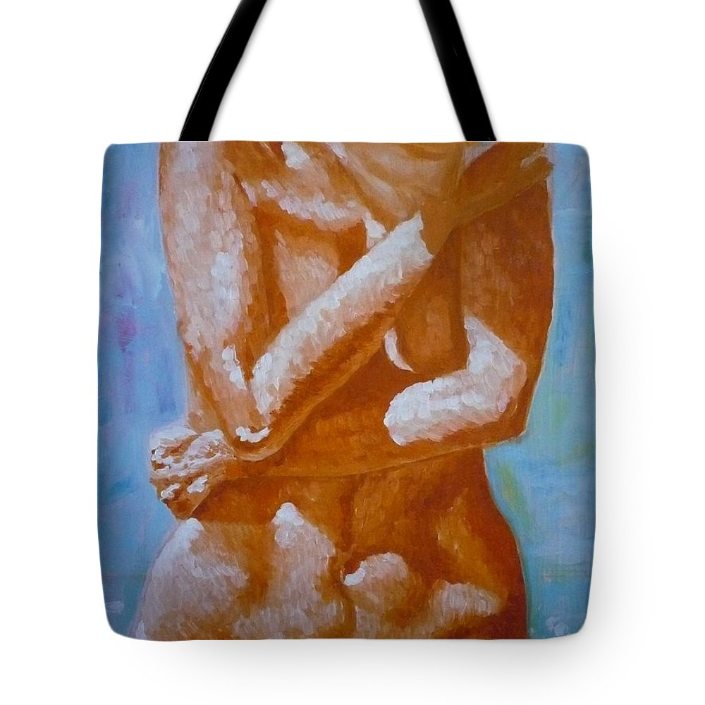Woman Tote Bag featuring the painting Woman In Water by Ericka Herazo