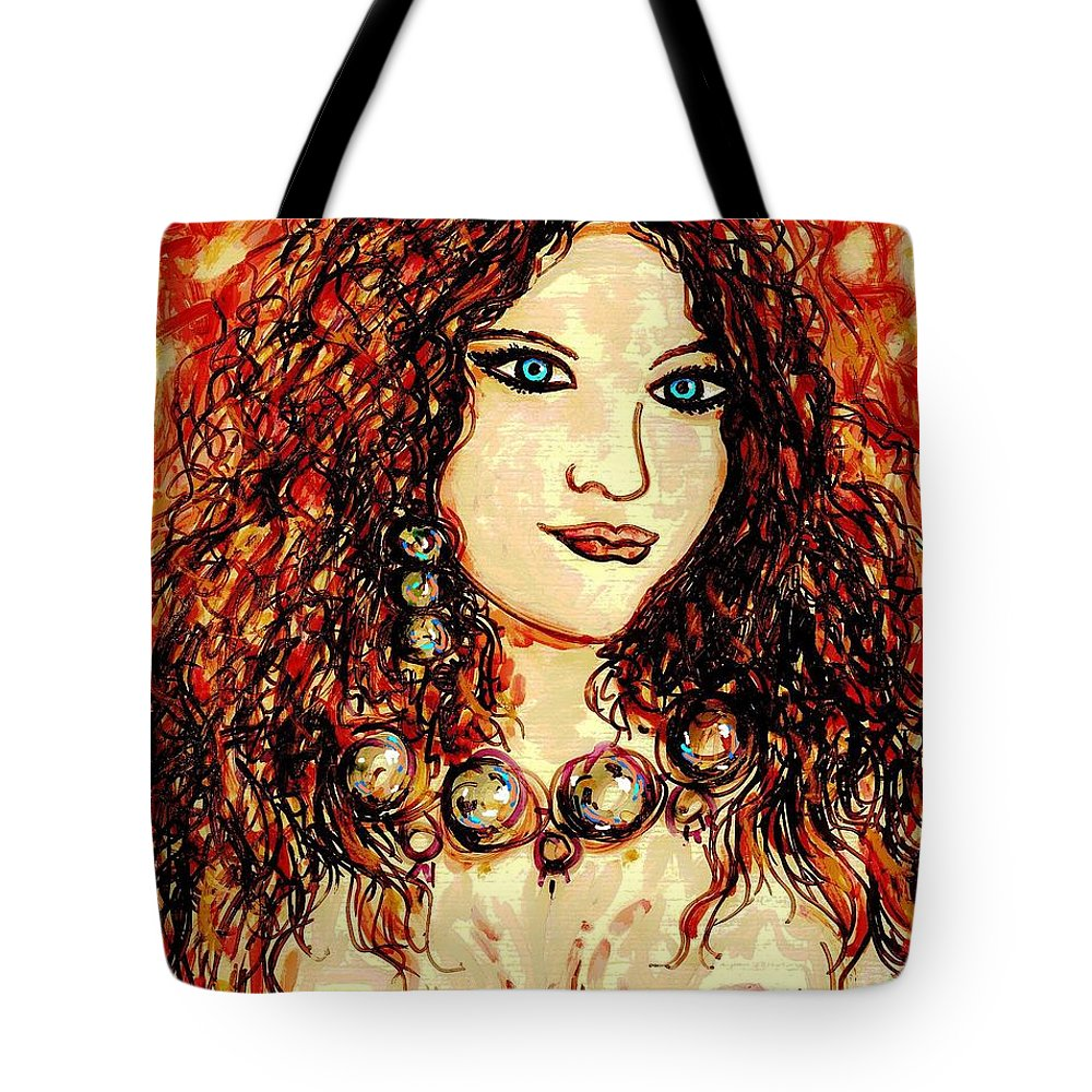 Woman Tote Bag featuring the painting Woman Of Desire by Natalie Holland