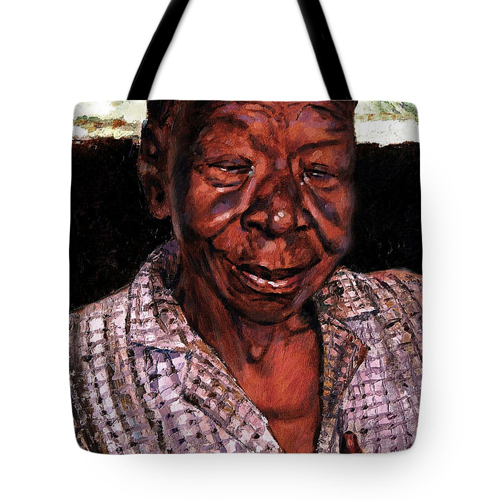 Black Woman Tote Bag featuring the painting Woman Of Faith by John Lautermilch