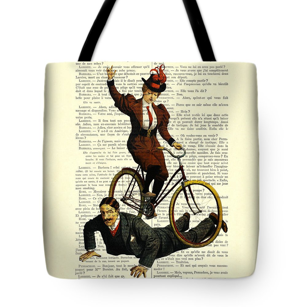 Woman Tote Bag featuring the digital art Woman On Bicycle Riding Over Man by Madame Memento
