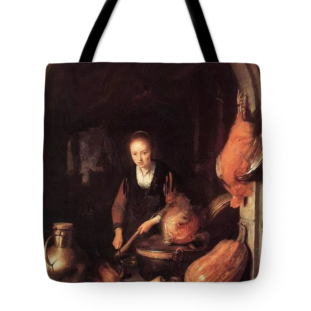 Woman Tote Bag featuring the painting Woman Peeling Carrot by Dou Gerrit