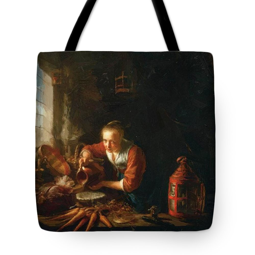 Woman Tote Bag featuring the painting Woman Pouring Water Into A Jar by Dou Gerrit