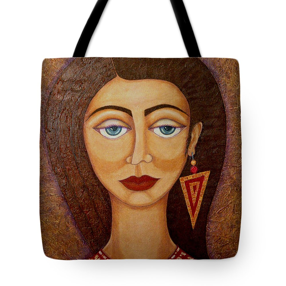 Market Tote Bag featuring the painting Woman S Market by Madalena Lobao-Tello