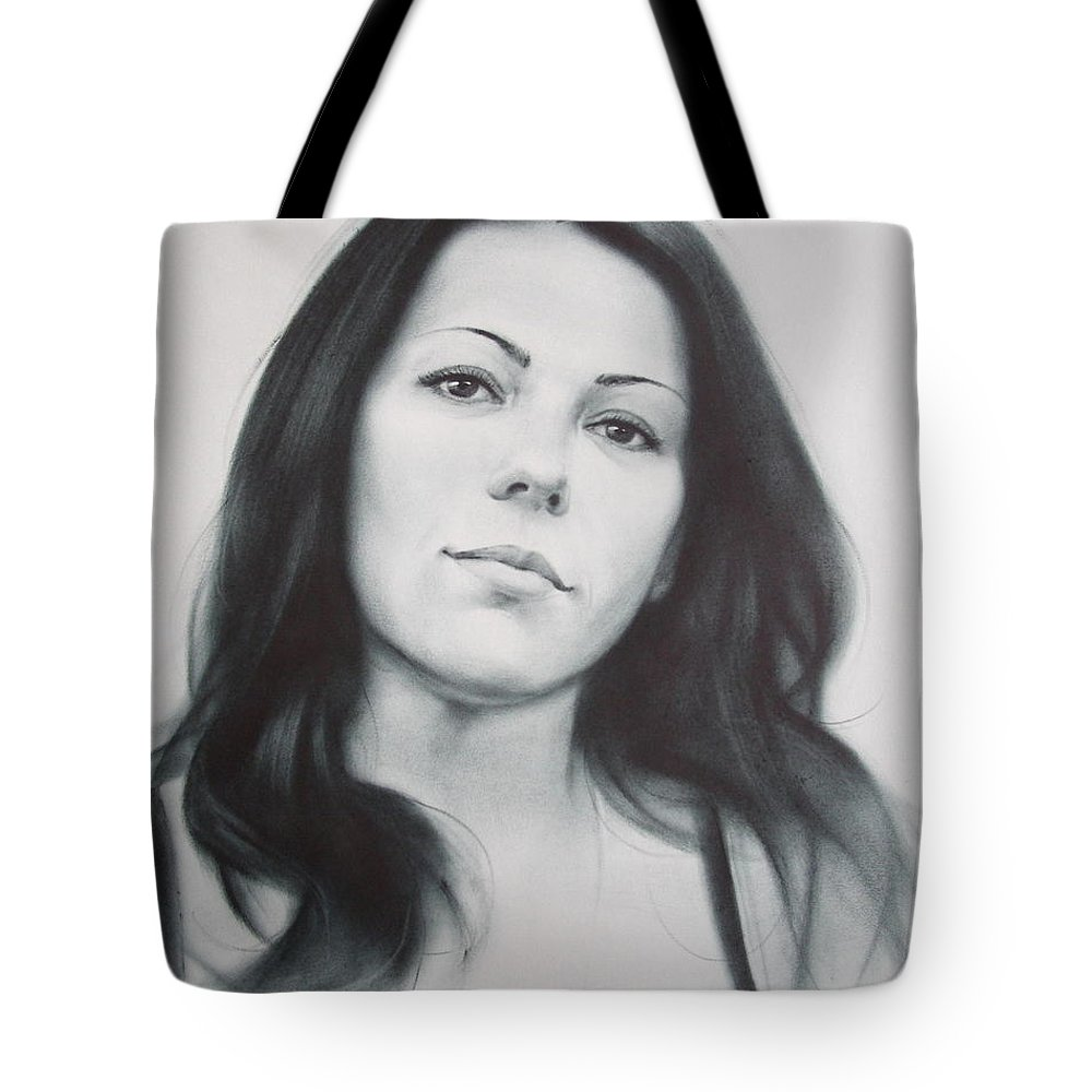 Art Tote Bag featuring the drawing Woman by Sergey Ignatenko