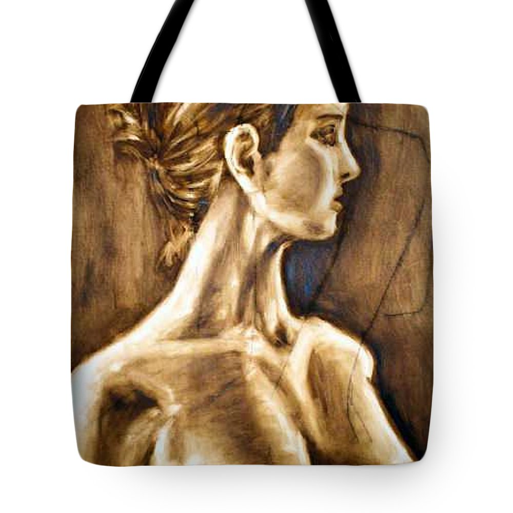 Tote Bag featuring the painting Woman by Thomas Valentine
