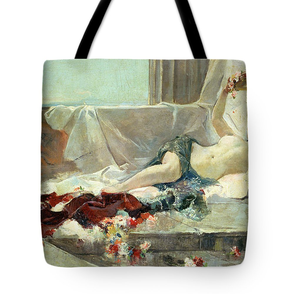 Bacchante (woman Undressed) 1887 (oil On Canvas) By Joaquin Sorolla Y Bastida (1863-1923) Tote Bag featuring the painting Woman Undressed by Joaquin Sorolla y Bastida