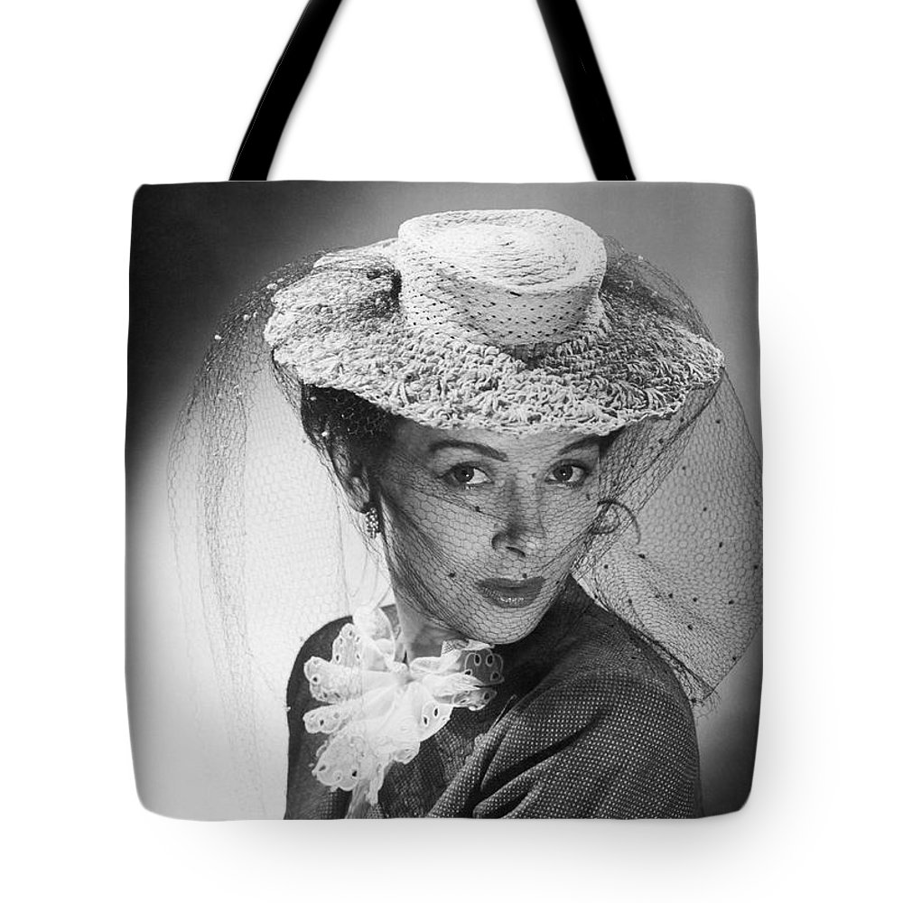 1 Person Tote Bag featuring the photograph Woman Wearing A Hat & Veil by Underwood Archives