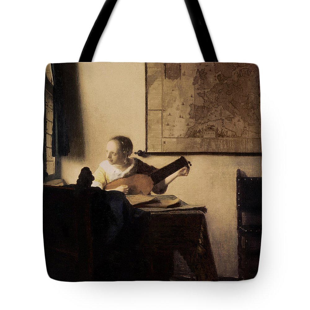 Woman With A Lute Tote Bag featuring the painting Woman With A Lute by Jan Vermeer