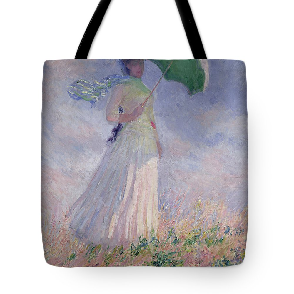 Woman Tote Bag featuring the painting Woman with a Parasol turned to the Right by Claude Monet