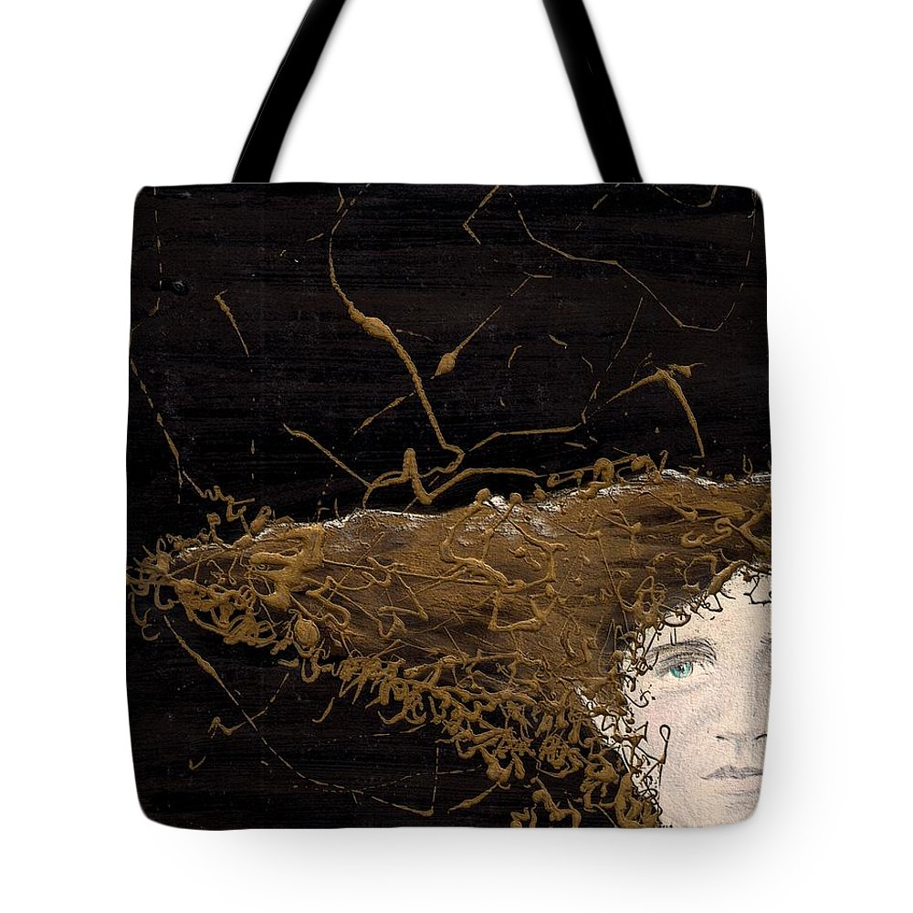 Hair Gold Woman Face Eyes Softness Tote Bag featuring the mixed media Woman With Beautiful Hair by Veronica Jackson