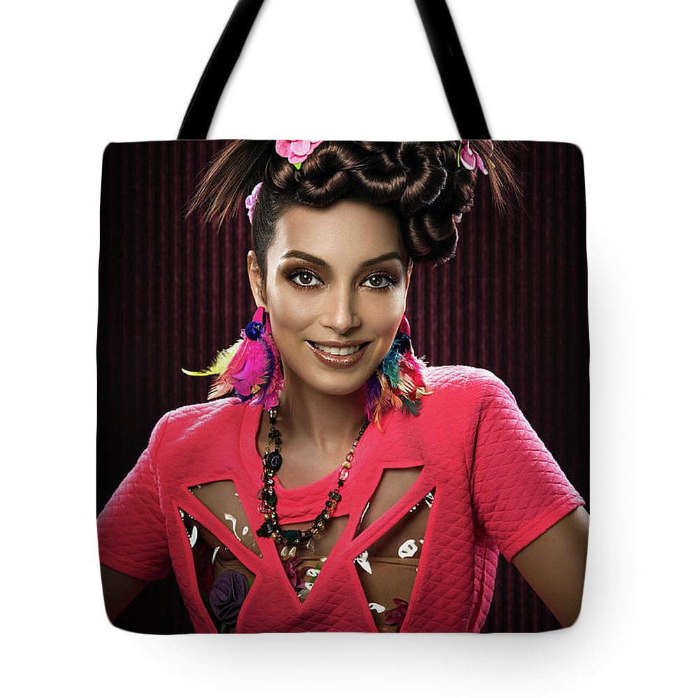 Pink Dress Tote Bag featuring the photograph Woman With Floral Headdress In Pink Dress by Erich Caparas