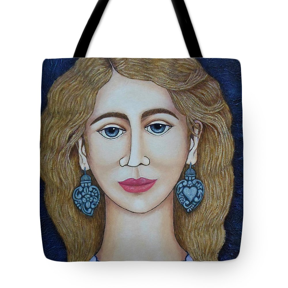 Woman Tote Bag featuring the painting Woman With Silver Earrings by Madalena Lobao-Tello