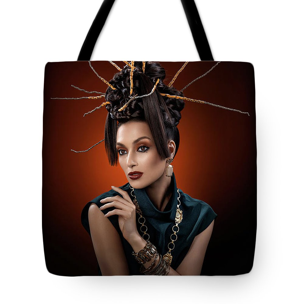 Black Dress Tote Bag featuring the photograph Woman With Twig Headdress And Oriental Look by Erich Caparas