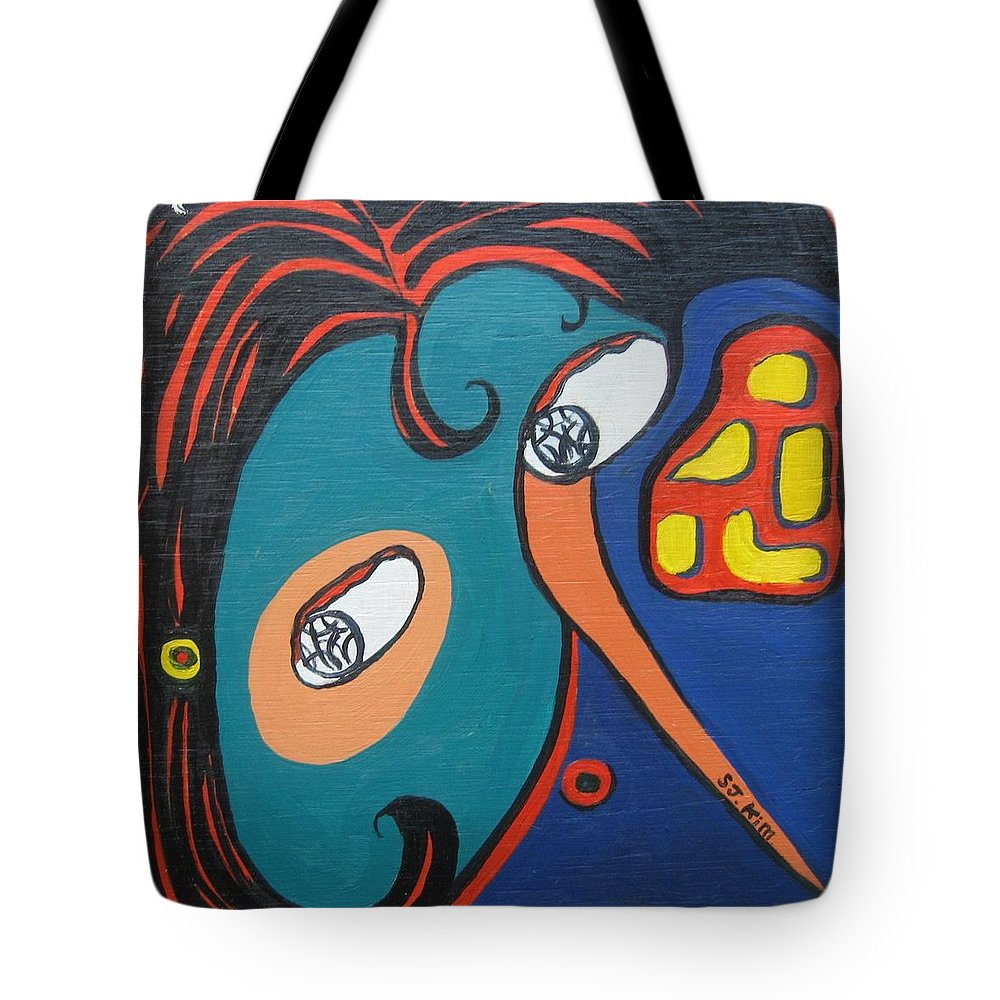 Abstract Paintings Tote Bag featuring the painting Woman12 by Seon-Jeong Kim