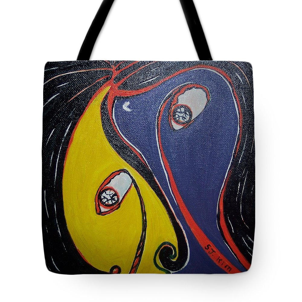 Yellow Paintings Tote Bag featuring the painting Woman21 by Seon-Jeong Kim