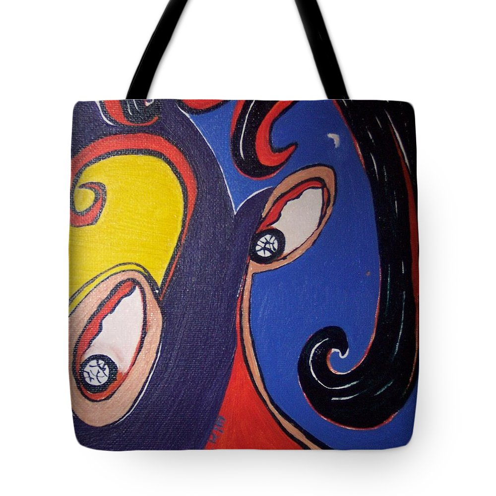 Abstract Paintings Tote Bag featuring the painting Woman30 by Seon-Jeong Kim